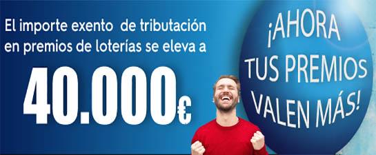 Premios inferiores a 40000€ exentos de impuestos